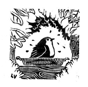Print linogravure rouge-gorge