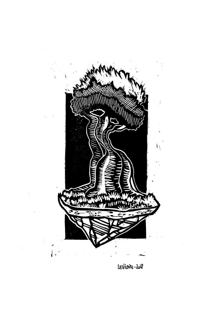 Print linogravure arbre