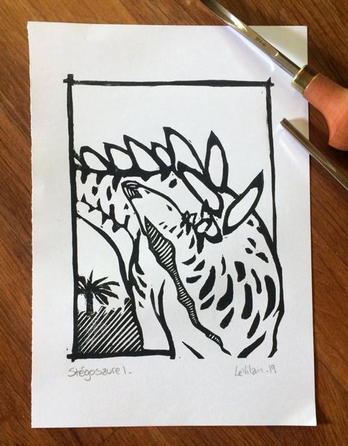 linogravure de stégosaure