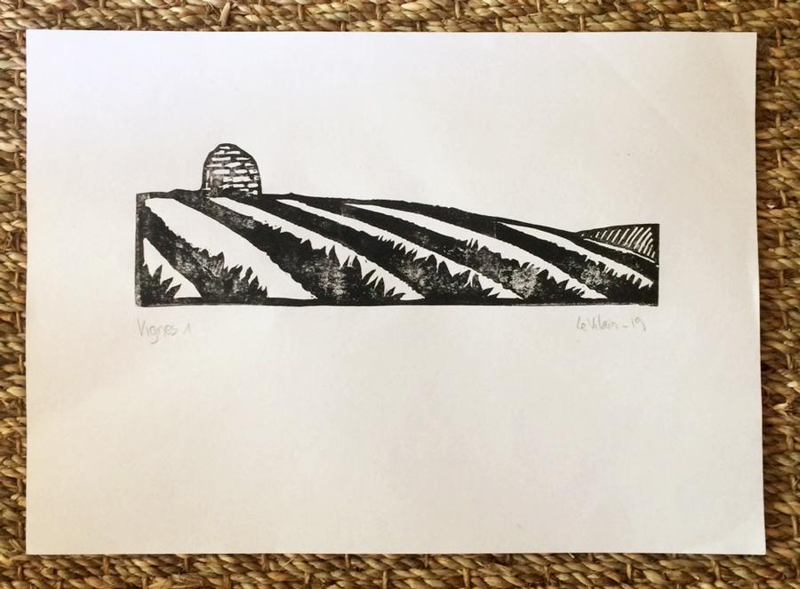 Vignes : linogravure d'une vignoble