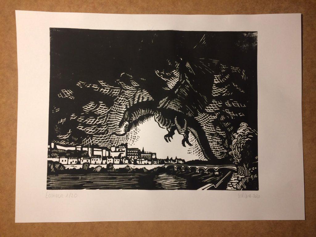 éclaircie, tirage numéroté, signé de linogravure, 30*23 cm sur papier A3 90 g