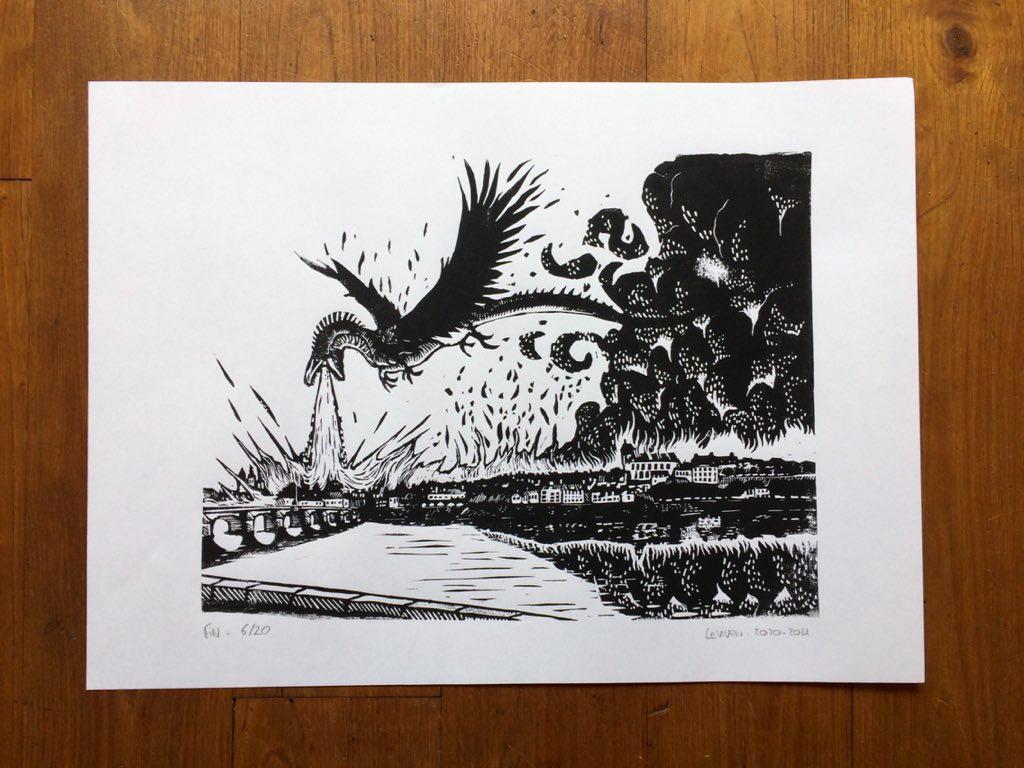 linogravure fin le vilain, un dragon brûle une ville